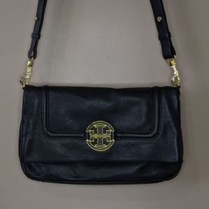 Authentic Tory Burch Black Leather Amand Foldover